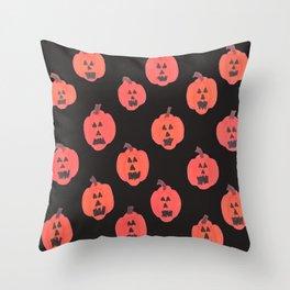 Halloween Jack-o-Lanterns on Black Throw Pillow