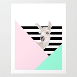 Llamas Amor Geometría Art Print