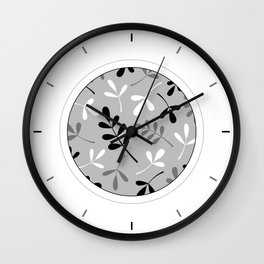 Assorted Leaf Silhouettes Monochrome Wall Clock
