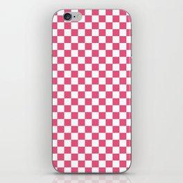 Small Checkered - White and Dark Pink iPhone Skin