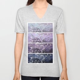 Vincent Van Gogh : Almond Blossoms Panel Art Dark Blue Purple Lavender Unisex V-Neck
