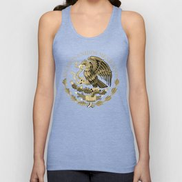 Mexican flag seal in sepia tones on black bg Unisex Tank Top