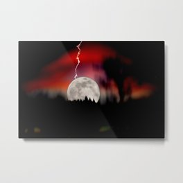Moon and lightning Metal Print