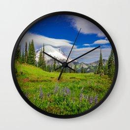 Mt Rainier and Wildflowers Wall Clock