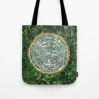 tree rings Tote Bags featuring Tree Rings by Zoë Miller