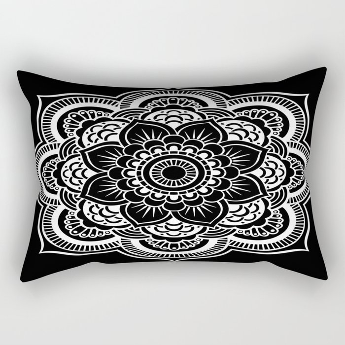 Mandala Black & White Rectangular Pillow