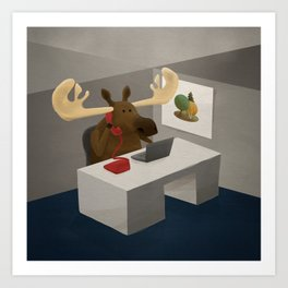 Maurice, the moose who wanted to work in an office Art Print