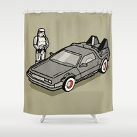 delorean Shower Curtains featuring Stormtrooper and his Delorean by Vin Zzep