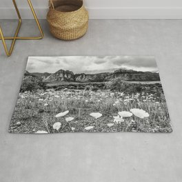 Wildflower Bloom | Black and White Vintage Red Rocks Las Vegas National Park Floral Landscape Rug