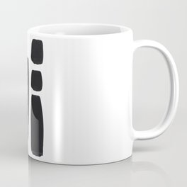 Black And White Minimalist Mid Century Abstract Ink Art Simple Brush Strokes Square Exclamation Mark Coffee Mug