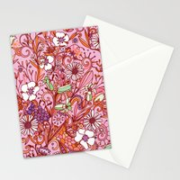 Daisy and Bellflower pattern, pink Stationery Cards