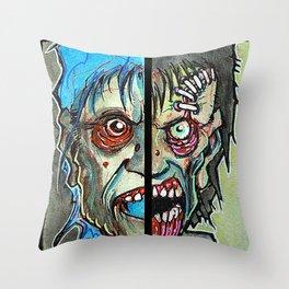 Two Half Zombie Throw Pillow