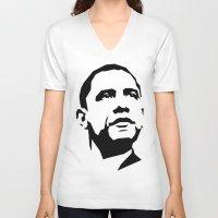 obama V-neck T-shirts featuring barak obama by b & c