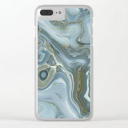 Precious Teal Blue Gemstone Agate Collage Clear iPhone Case
