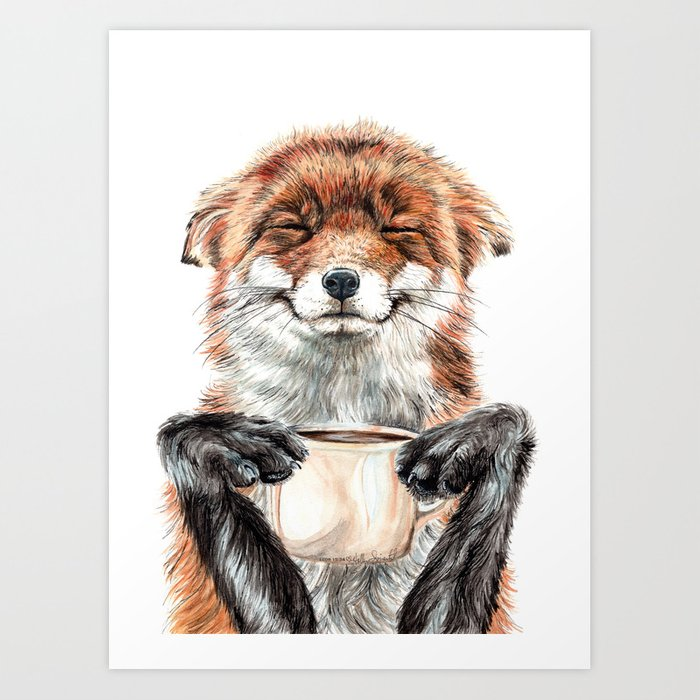 """ Morning fox "" Red fox with her morning coffee Kunstdrucke"