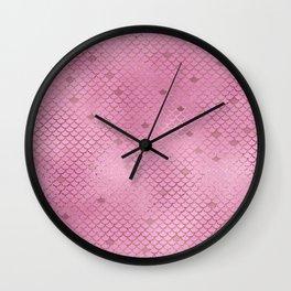 Fuchsia Mermaid Scales Wall Clock
