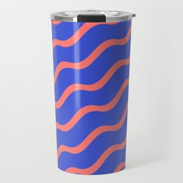 Red Waves in a Blue Sea Travel Mug