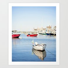 Boats Reflecting in Harbor in Nantucket Art Print