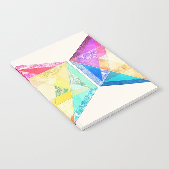 Retro Rainbow Patchwork Hexagon Notebook