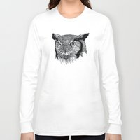 owl Long Sleeve T-shirts featuring Owl by Puddingshades