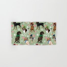 Coonhound Holiday Decorations Green Hand & Bath Towel