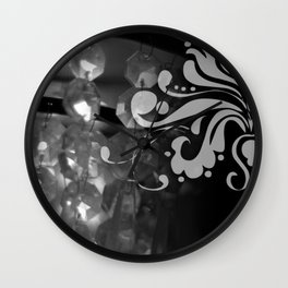 Grayscale Chandelier & Damask Wall Clock