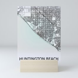 Huntington Beach CA USA White City Map Mini Art Print