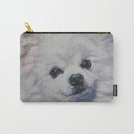 white POMERANIAN dog art portrait from an original painting by L.A.Shepard Carry-All Pouch