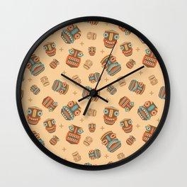 Tiki tribal mask pattern Wall Clock