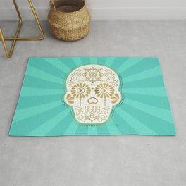 Día de Muertos Calavera • Mexican Sugar Skull – Turquoise & Gold Palette Rug