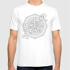 Butterflies and kaleidoscope in gray and white Mens Fitted Tee MEDIUM White