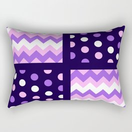 Two-Tone Ultraviolet/Baby Pink/White Chevron/Polkadot Rectangular Pillow
