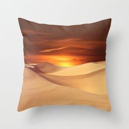 The Sunset On Desert Throw Pillow
