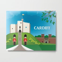 Cardiff, Wales - Skyline Illustration by Loose Petals Metal Print