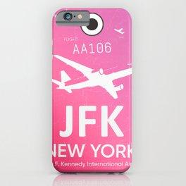 Pink JFK NEW YORK Airport code iPhone Case
