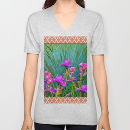 CORAL  PINK-WHITE PATTERNED PURPLE & PINK IRIS Unisex V-Neck