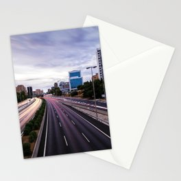 Motorway in Madrid at sunset Stationery Cards