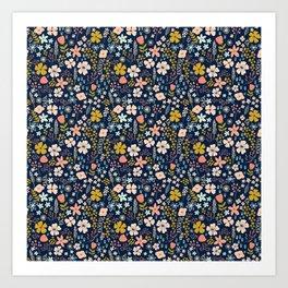 Flowers in navy Art Print