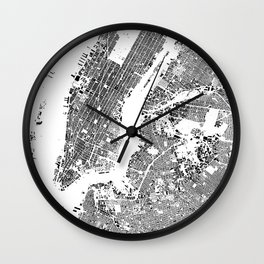 New York Map Schwarzplan Only Buildings Wall Clock