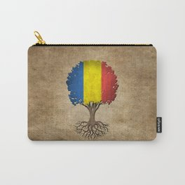 Vintage Tree of Life with Flag of Romania Carry-All Pouch