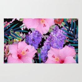 BLACK VINTAGE PINK FLOWERS BLUE  PALMS ART Rug
