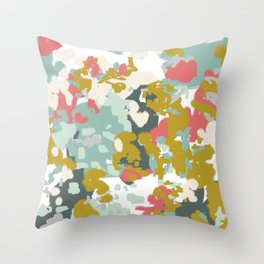 Rumor - Abstract painting, design pink mustard blue painterly design Throw Pillow