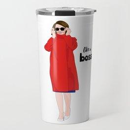 Nancy Pelosi, Red Coat and Sunglasses Travel Mug