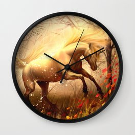 Wonderful Fairytale Fable Creature Horned Horse Wood Clearing Twilight UHD Wall Clock