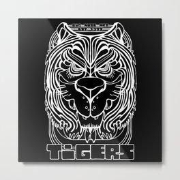 Tiger Crest - Black and White Chalkboard Metal Print