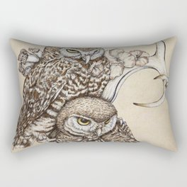 Duality - Two Burrowing Owls Rectangular Pillow