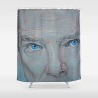 benedict cumberbatch Shower Curtains featuring Cumberbatch by Artfully Alexa