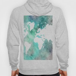 Design 62 World Map Turquoise Aqua Hoody