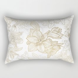 Elegant modern white faux gold marble floral Rectangular Pillow