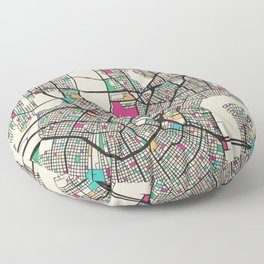 Colorful City Maps: New Orleans, Louisiana Floor Pillow